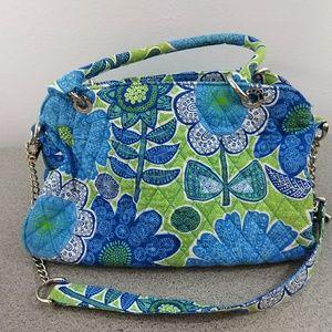 Vera Bradley Chain Strap Handbag Medium Blue Green